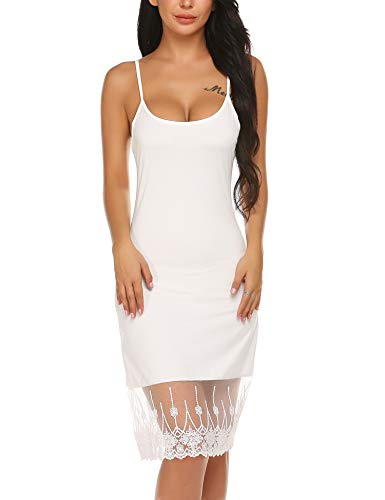(Zeagoo Women's Lace Trim Chiffon Ruffle Camisole Slip Top/Tank Dress Extender, 2-white, Large)