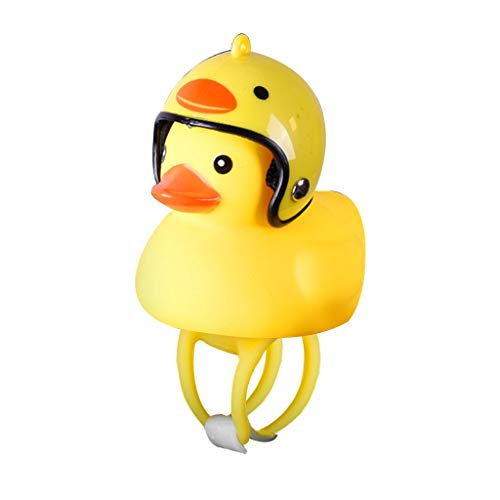Ecosin Cartoon Duck with Helmet Head Light Shining Duck Bicycle Bells Handlebar Bicycle Accessories (A) ()
