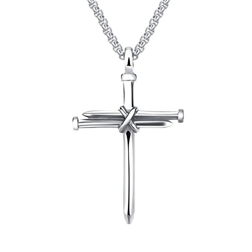 SINLEO Stainless Steel Nail Cross Charm Pendant Necklace for Men Christian Jesus Christ Free Chain Silver (Cross Small Necklace Christian Nail)