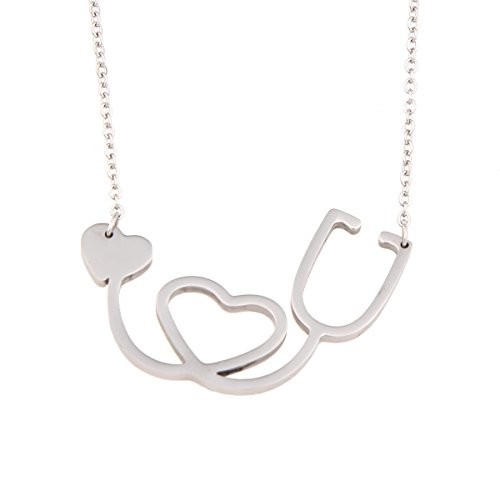Dainty Stainless Steel Doctor Nurse Stethoscope Necklace with Heart (Silver)