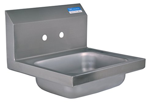 BK Resources Wall Mount Stainless Steel Hand Sink, 14'' wide x 10'' front-to-back x 5'' deep bowl by BK Resources
