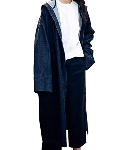 Jeans Schwarz Lunga Haidean Libero Sciolto Manica Giacca Eleganti Tempo Fashion Semplice Outwear Denim Blu Giubbino Glamorous Donna Jacket Cappotto Fidanzato Con Autunno Primaverile Cappuccio Stile XqYwXSr