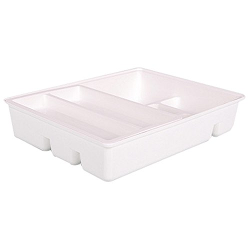 OLizee Creative Flatware Drawer Organizer with Sliding Tray Double Layer Plastic Kitchen Cutlery Tray, White
