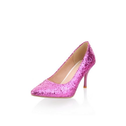 Pointed Purple Sequin Toe WeiPoot Pumps Stiletto Solid Women's Frosted Closed PU High TzzEa