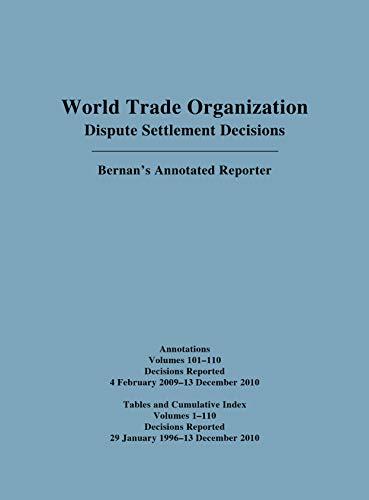 Wto Cumulative Index Annotations Vols.100-110/ Tables and Cumulative Index for Vols. 1-110