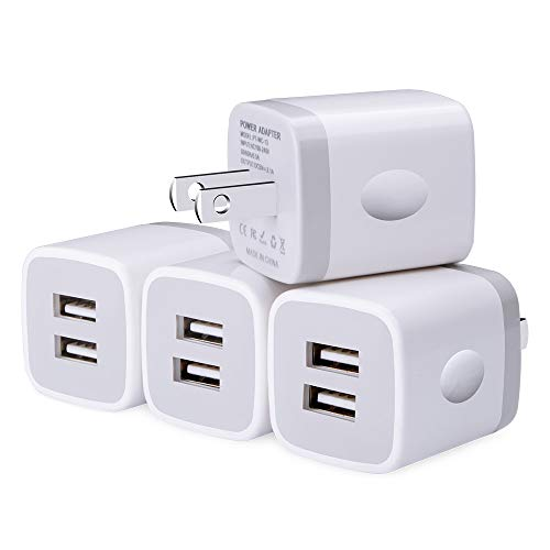 USB Wall Charger, UorMe 4PC 2.1A Dual Port Travel Wall Charger Plug Cube Brick Compatible with iPhone X/8/7/6/6S, Samsung Galaxy S9 S8 S7 Note 5 4, iPad, HTC, LG, Nokia, Google, BlackBerry and More