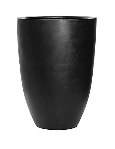 Ben XL Tall Black Flower Planter Tapered Cylinder Fiberstone Vase 28'' H x 20.5'' W - By Pottery Pots by Pottery Pots