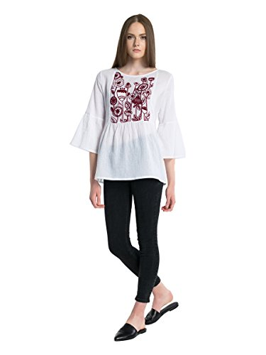 (ETNODIM Woman Embroidered Batiste Cotton Blouse Tops White Ukrainian 3/4 Sleeve 4-6)