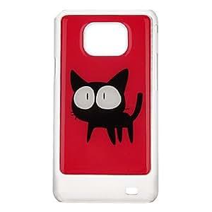 conseguir Modelo rojo y cubierta Blck gato protector duro de nuevo caso para Samsung Galaxy S2 I9100