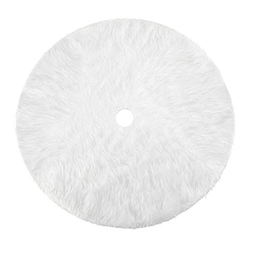 Amidaky Christmas Tree Plush Skirt 35.4 inch Snow White Faux Fur Christmas Tree Skirt Ornaments Xmas Tree Skirts Christmas Thanksgiving Holiday Decoration Year Party Supply (90cm) (Ornament Tree Christmas White Black)