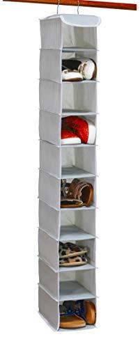 Simple Houseware 10 Shelves Hanging Shoes Organizer Holder for Closet w/ 10 Pockets, Grey
