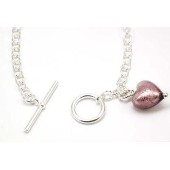 - The Olivia Collection TOC Sterling Silver T-bar Bracelet with Mauve Murano Glass Heart Charm