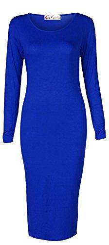 Crazy Girls Womens Ladies Long Sleeve Scoop Neck Midi Dress (US20/22-UK24, Royal Blue)