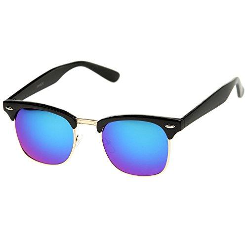 zeroUV - Half Frame Semi-Rimless Horn Rimmed Sunglasses (Black-Gold / Green-Blue - Frames Black Horn Rimmed