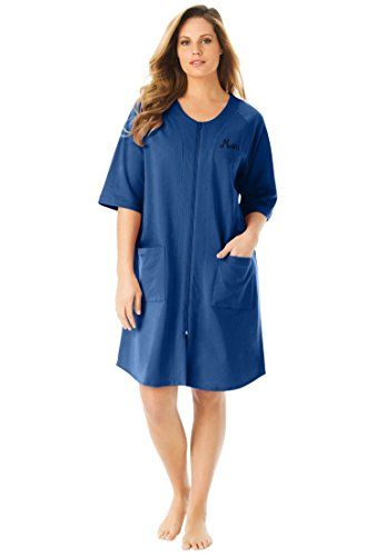 Dreams & Co. Women's Plus Size Personalized Short French Terry Robe Royal