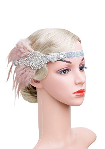 Vintage Black Feather Silver 20s Bridal headpiece 1920s Flapper Great Gatsby Headband (Silver and Nude) ()