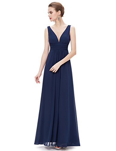 Ever-Pretty Womens Empire Waist V Neck Semi Formal Long Bridesmaids Dress 8 US Navy Blue
