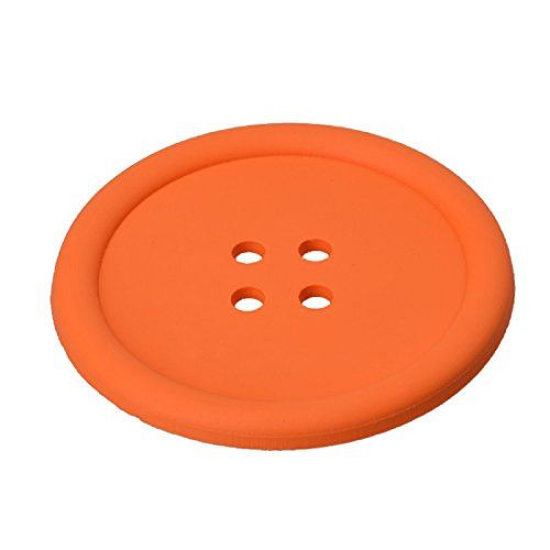 Cup Coaster,Leegor 4pcs Cut Silicone Button Coaster Cup Cushion Holder Drink Placemat Mat (Orange)