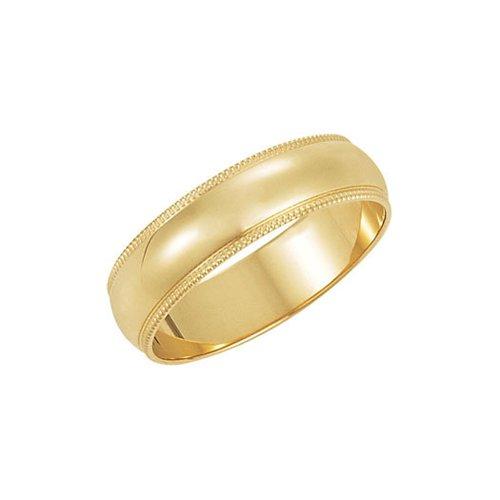 Beaded Edge Wedding Band Ring (5mm Milgrain Edge Domed Light Band in 10k Yellow Gold Size 9.5)