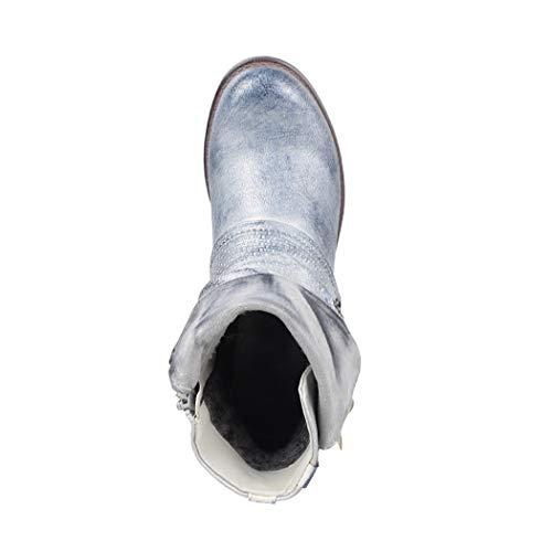 Donna Biker Stivaletti Boots Rivetti Ryan Print Chunky Argento Metallic Elara Comodo BwfCWndqq