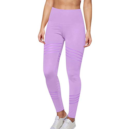 (Fudule Pants,Leggings for Women Solid Color Yoga Pants Tummy Control High Waist Twill Hip Capri Leggings Workout Pants Purple)