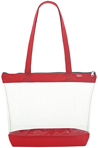 - Clear Shoulder Tote with ZIPPER Closure, Red