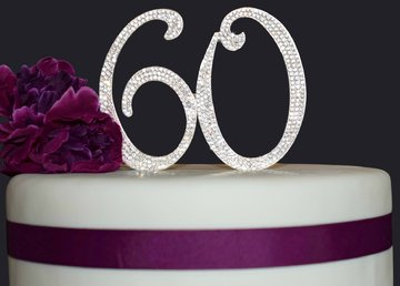 60 Rhinestone Cake Topper - Silver Anniversary or Birthday Cake Topper - Premium Quality Crystal Rhinestones - Decoration Idea (Silver)