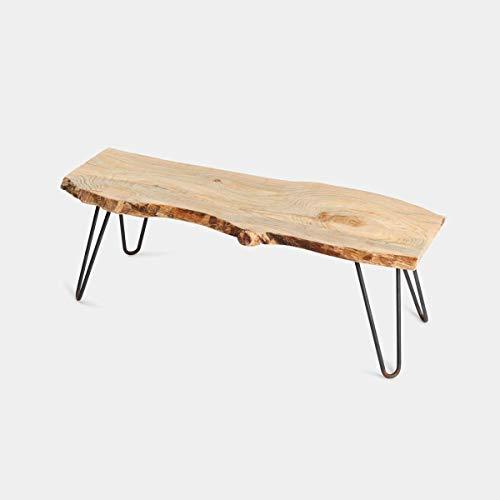 Mesa de centro de madera de pino natural forma arbol 80x30x40 patas hairpin legs