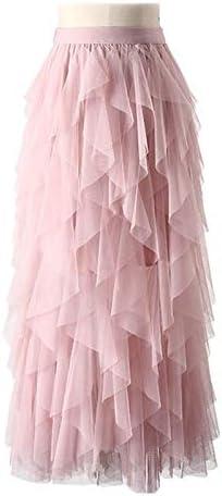 XGDLYQ Irregular Tulle Skirt Women Elegant High Waist Pleated Skirt Female A-line Long Skirt Pink