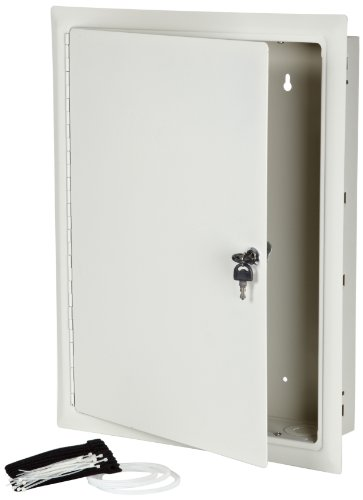 Morris Products 87106 Home Network Enclosure, Hinged Door, Large Flush Surface, 14.4'' Width, 21.3'' Height, 3.7'' Depth by Morris Products