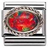 Nomination Composable Women's Bead Classic in Steel Silver 925 + Red Opal Stone jDbah
