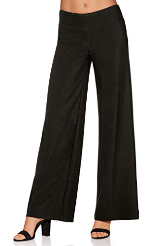 (Boston Proper Women's Wrinkle-Resistant Solid Color Knit Palazzo Pant Jet Black Large)