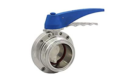 "Trynox Clamp Sanitary Stainless Steel Butterfly Valve Buna Seal 304 1.5"" Tri clamp Sanitary Fitting by Trynox"