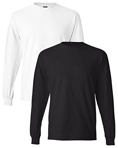 Hanes Men's 2 Pack Long Sleeve Beefy-T Shirt, Medium, 1 White / 1 Black ()