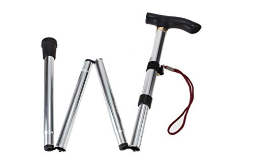 Healthcom Walking Canes Walking Stick Aluminum Alloy Folding Cane Adjustable Collapsible Canes, Lightweight(Silver) ()