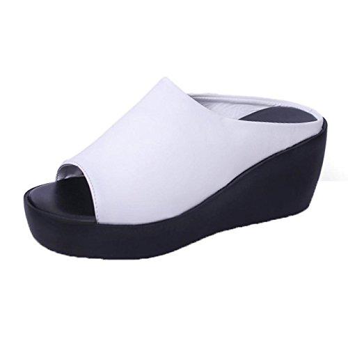 Zapatillas Mujer, Internet Mujeres Ocio De Ocio Boca Del Pescado Zapatillas De Fondo Grueso Blanco