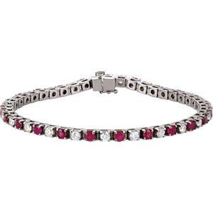 "Jambs Jewelry Platinum Ruby & 2 3/8 CTW Diamond 7.25"" Bracelet"