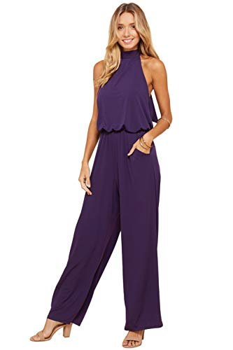 Halter Neckline Sleeveless - Annabelle Women's Sleeveless Solid Knit Halter Neck Open Back Full Jumpsuit Violet Medium J8090