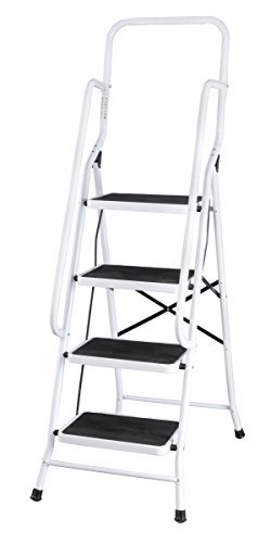 lding Four Step Ladder with Handrails, Tier, White ()