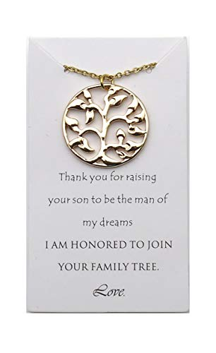 IDLAN Wedding Gifts Wedding Jewelry Mother of The Groom Necklace Family Tree Necklace (Gold)