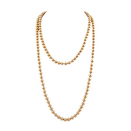 - GRACE JUN Luxury Fashion Glass Simulated Pearl for Women Party Handmade Long Pearl Necklace 55