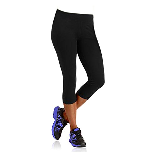 Danskin Now Womens Dri-More Cropped Leggings (Black, XX-Large)