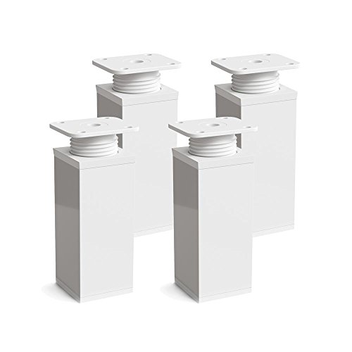 Furniture Legs, Pack of 4, Height Adjustable | Angular Profile: 40 x 40 mm | Design: White| Sossai MFV1-WH | Height: 60 mm (+20 mm) | Wood Screws Included