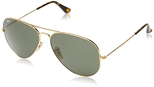 Ray-Ban 3025 Aviator Large Metal Non-Mirrored Non-Polarized Sunglasses, Gold/Dark Green (181), 62 - Non Pilots For Polarized Sunglasses
