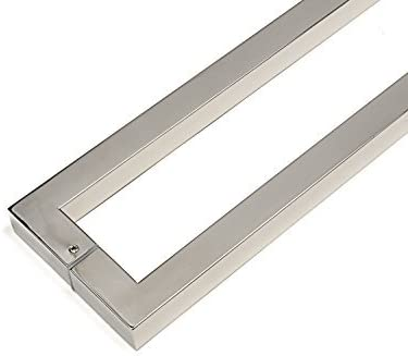 Modern /& Contemporary Square//Rectangle Shape 406mm Chrome Mirror-Polished Finish 16 inches Push-Pull Stainless-Steel Door Handle for Interior//Exterior