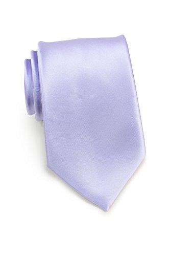 Bows-N-Ties Men's Necktie Solid Color Microfiber Satin Tie 3.25 Inches (Sweet Lavender)