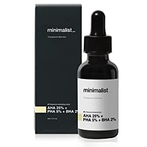 Minimalist AHA 25% + PHA 5% + BHA 2% Peeling Solution for Glowing Skin, Smooth Texture & Pore Cleansing | Weekend Facial…