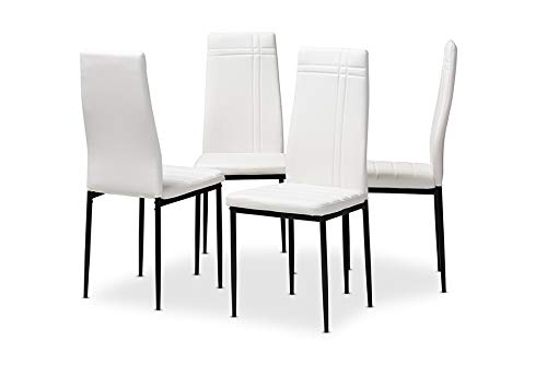 (Baxton Studio Padded Seat Dining Chair in White - Set of 4)