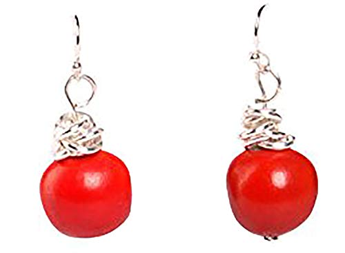 Peruvian Earrings for Women - Huayruro Red Seed Dangles - Natural Handmade Jewelry by Evelyn ()