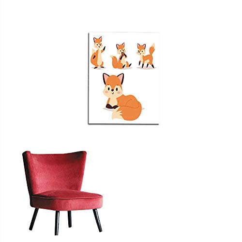 longbuyer Wall Sticker Decals Fox Character Doing Different Foxy Activities Funny Happy Nature red Tail and Wildlife Orange Forest Animal Style Graphic Vector Illustration Mural 16
